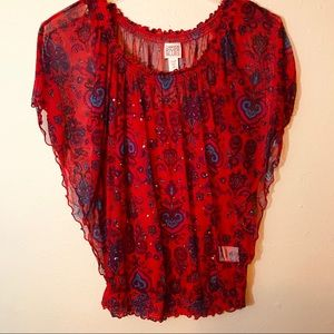 Red Canyon River Blues Top / Size Small